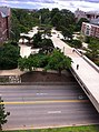 View of the College Avenue bridge from the sixth floor of Milner Library.jpg