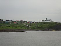 View of the famous church at Tsiigehtchic from the ferry prior to landing..JPG