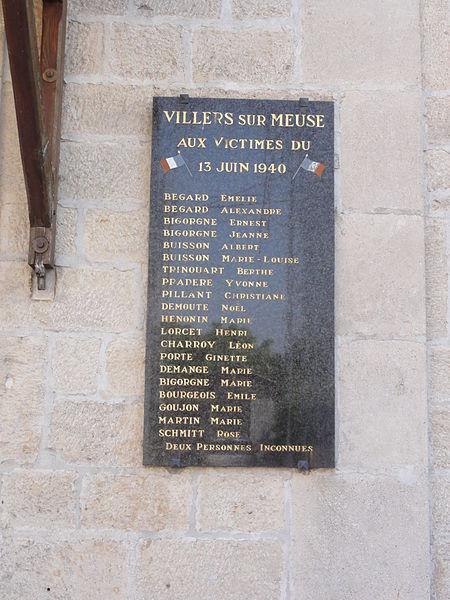 Villers-sur-Meuse (Meuse) mairie, plaque mémorial 13 juin 1940
