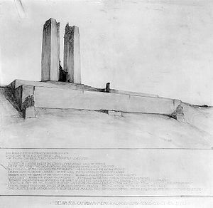 A black and white drawing of a white limestone memorial built on the top of a hill. The memorial has a large front wall with rising steps on each end. Two large pylons of stone rise from a platform at the top of the wall.