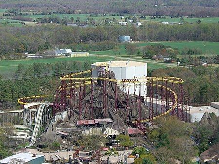 Overview of Volcano, The Blast Coaster and Flight of Fear in the background Volcano, The Blast Coaster (Kings Dominion) 02.jpg