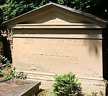 Familiengrab Alexander von Dusch und seine Gemahlin Anna, geb. Freiin von Weiler Heidelberger Bergfriedhof in der Abteilung E (Quelle: Wikimedia)