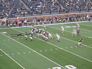 2012 Boston College Eagles football team - Boston College (in white) on defense versus Wake Forest (in black) during the November 3, 2012 game