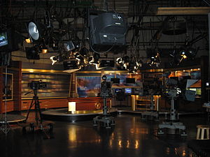 News presenter - News set for WHIO-TV in Dayton, Ohio. News anchors often report from sets such as this, located in or near the newsroom.