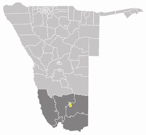 Keetmanshoop Urban - Keetmanshoop Urban constituency (yellow, centre) in the ǁKaras Region (dark grey)