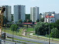 Warszawa Mokotów, Wiadukty ul.Wicentego Rzymowskiego - widok na Osiedle ul.Graniczna - Wyścigowa -pętla tramwajowa Wyścigi - panoramio.jpg