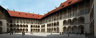 Renaissance architecture in Central and Eastern Europe - The courtyard of the castle Wawel in Kraków