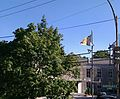 Weather system installed at the Belgium Embassy in Washington DC. From top to bottom, wind speed and direction, security camera, SARS (typically housing a temperature and relative humidity probe), and at the bottom an op - panoramio.jpg