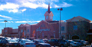 "Wegmans - A modern Wegmans storefront circa 2010. This Wegmans is in Lanham, Maryland (a Washington, D.C. suburb) (referred to as the ""Woodmore"" store), the second Wegmans in Maryland"