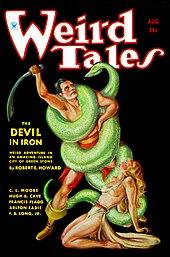 Copertina di Weird Tales (agosto 1934) che illustra Il diavolo di ferro, un racconto di Conan il barbaro
