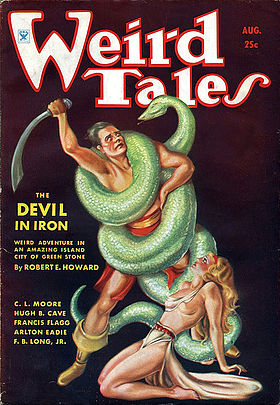 Couverture du pulp américain Weird Tales (août 1934). Illustration de Margaret Brundage pour la nouvelle Le Diable d'airain (The Devil in Iron (en)) de Robert E. Howard.