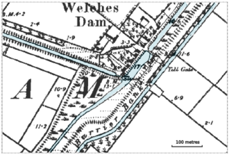 Old Bedford River - 1892 map of Old Bedford River and River Delph at Welches Dam, showing flood bank