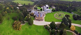 Werribee Park - Werribee Park Mansion from above