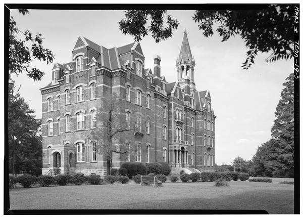 Jubilee Hall at Fisk University West side and south front - Fisk University, Jubilee Hall, Seventeenth Avenue, North, Nashville, Davidson County, TN HABS TENN,19-NASH,7A-3.tif