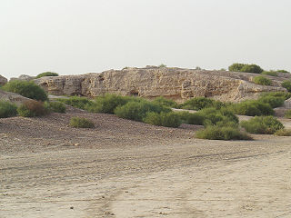 Kalibangan town on the banks of the Ghaggar River in India
