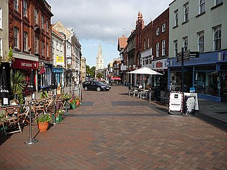 Westgate, Gloucester - A recent view of Westgate Street with St Nicholas' Church in the distance and showing the modern pedestrianisation of the upper part.