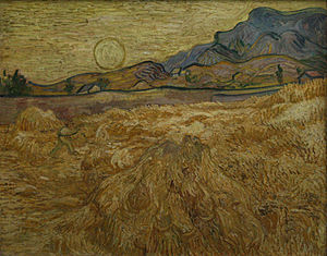 The Wheat Field - Wheat Field with Reaper and Sun, Late June 1889, Oil on canvas, Kröller-Müller Museum, Otterlo, Netherlands (F617)