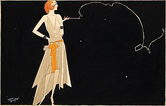 Cigarette holder - In Where There's Smoke There's Fire (ca. 1920s), Russell Patterson depicts a flapper whose cigarette holder is not only a fashion accessory, but an important element of the interplay of line in the drawing.