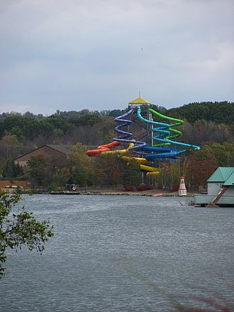 Wildwater Kingdom (Ohio) - Thunder Falls, viewed from across the lake