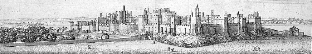 An engraving of a castle, with stone walls and square towers running along them. In the middle, a mound can be seen with a stone keep on it. A low, long wall runs outside the castle to the left and right, with a gateway close to the castle on each side.