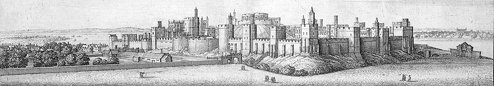 Windsor Castle in 1658, as seen from the south-east, by Wenceslas Hollar; (l to r) the Lower Ward, the Middle Ward and Round Tower, the Upper Ward.