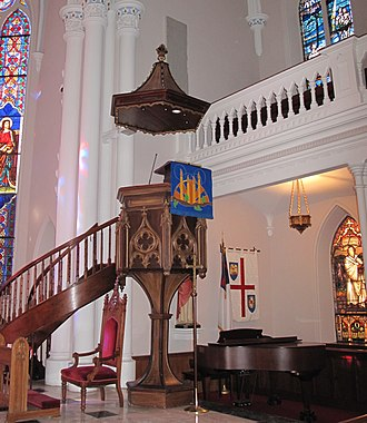 "Sounding board - ""Wine glass"" pulpit and sounding board at St. Matthew's German Evangelical Lutheran Church in Charleston, SC"