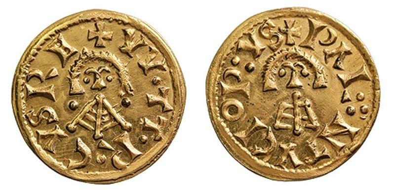 Tremis de oro acuñado durante el reinado de Witerico.