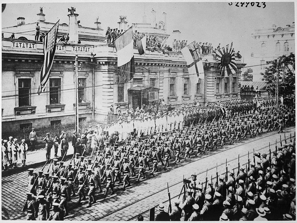 Парад интервентов во Владивостоке, 1918 год.
