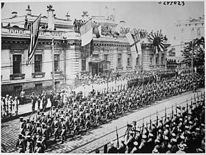 Legione Redenta - Allied troops parading in Vladivostok, 1918. By September 1918, there were 70,000 Japanese, 5,002 American, 1,400 Italian, 829 British and 107 French troops in and around that city