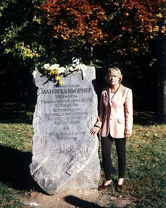 Manfred Wörner - Dr. Wörner's wife Elfie at his monument in South Park, Sofia, Bulgaria