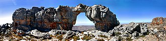 Cederberg - Wolfberg Arch sculpted from the Upper Peninsula Formation Sandstone rocks by wind erosion.