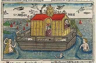 Noah's Ark - A woodcut of Noah's Ark from Anton Koberger's German Bible