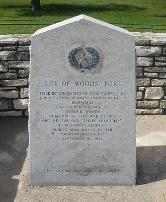 Old Three Hundred - Memorial Stone erected by the State of Texas 1936 at the site of Woods Fort
