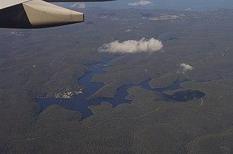 Woronora Dam - Aerial view of Woronora Dam reservoir
