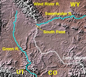 South Pass (Wyoming) - Map of southwestern Wyoming showing location of South Pass at the headwaters of the Sweetwater River