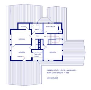 Warren Hickox House - Image: Wright Hickox Second Floor Plan