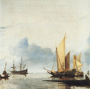 Hendrick Dubbels - Marine scene, 1660s; a tranquil scene influenced by Jan van de Cappelle and the Van de Veldes.