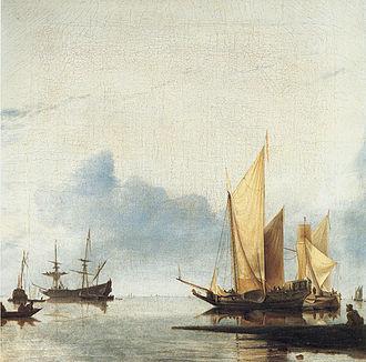 Hendrick Dubbels - Marine scene, 1660s; a tranquil scene influenced by Jan van de Cappelle and the Van de Veldes.