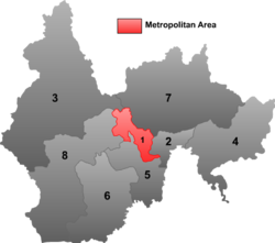 Location in Yanbian Prefecture;  Yanji is highlighted in red