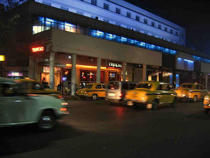 Yellow taxicabs in Kolkata, India.