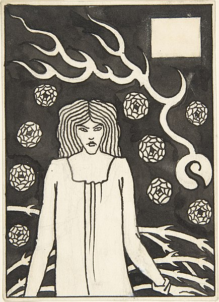 "File:Young Woman Surrounded by Briars, Lightning and Roses (Chapter Heading for Thomas Malory, ""Le Morte d'Arthur,"" J. M. Dent 1893–94, Part III, book vi, chapter xvii, p. 215 and Part VII, book x, chapter xxii, p. 500) MET DP800789.jpg"
