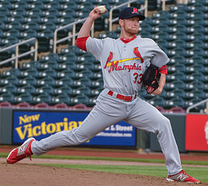 Memphis Redbirds - Zach Petrick pitching in the Redbirds' road uniform (2015)