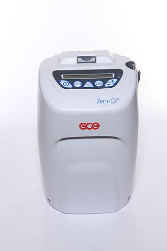 Portable oxygen concentrator - A Zen-O portable oxygen concentrator; it is capable of pulse and continuous flow operation