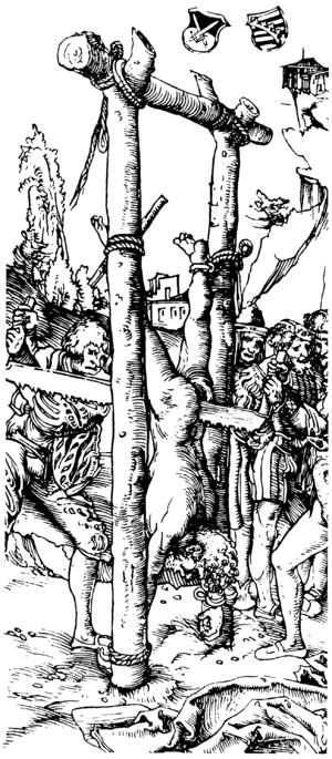 Death by sawing - Illustration by Lucas Cranach the Elder of St. Simon sawn in two
