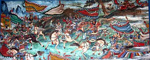 Zhao Yun - A mural depicting Zhao Yun at the Battle of Changban inside the Long Corridor at the Summer Palace in Beijing. The rider in white is Zhao Yun.