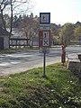 Zoltán fishing pond Göböl and Pannónia Golf Club and Porticus Restaurant signs, Road 8106, 2019 Etyek.jpg