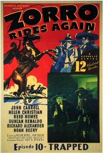 Zorro - Poster for the serial Zorro Rides Again (1937), starring John Carroll as a descendant of the original Zorro