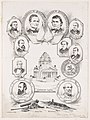 """""""Confederate capitol"""" surrounded by portraits of confederate governing officials LCCN2004667252.jpg"""