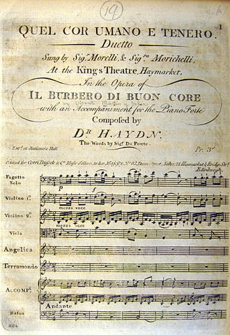 """Orlando paladino - First page of the insertion duet, """"Quel cor umano e tenero,"""" composed by Joseph Haydn, words by Lorenzo Da Ponte.  The caption indicates it was performed in Vicente Martin y Soler's opera Il burbero di buon cuore as sung by Anna Morichelli and Giovanni Morelli (in performances beginning May 17, 1794 at King's Theatre, London). This duet is actually an adaptation of Haydn's duet """"Quel tuo visetto amabile"""" from his opera Orlando Paladino"""