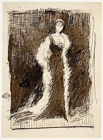 Portrait of Lady Meux - Image: 'Arrangement in Black, No. 5, Portrait of Lady Meux', drawing in brown ink by James Mc Neill Whistler, c. 1881, Art Institute of Chicago